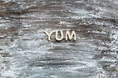 word yum made from dough