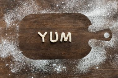 Edible lettering on cutting board