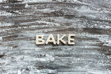 word bake made from dough