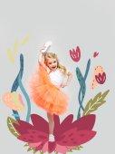Photo Cute little girl on flower