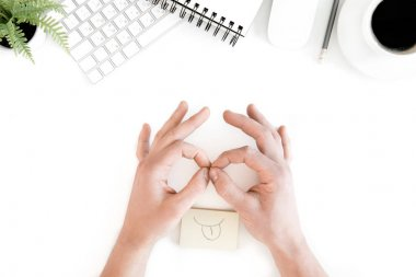 human hands at workplace