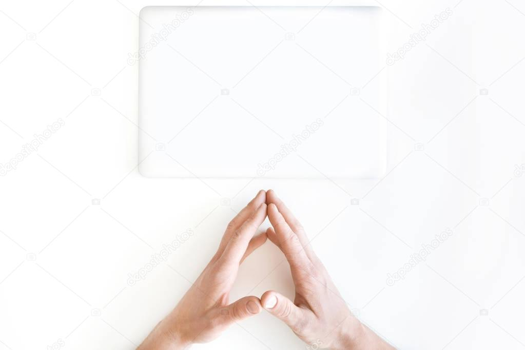 human hands and laptop