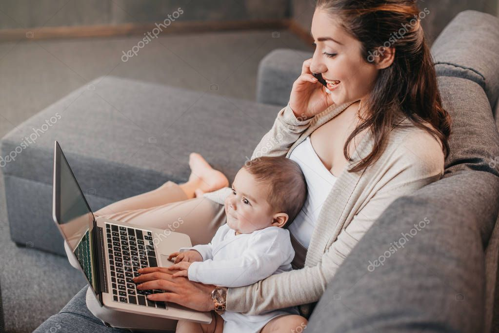 Mother with son working from home