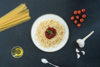Spaghetti with sauce and basil