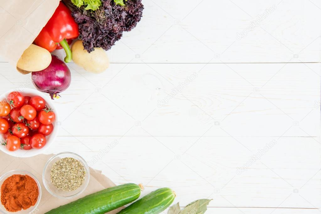 Fresh raw vegetables with spices