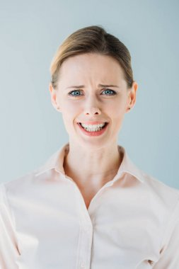 caucasian businesswoman with facial expression