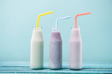 Milkshakes in glass bottles