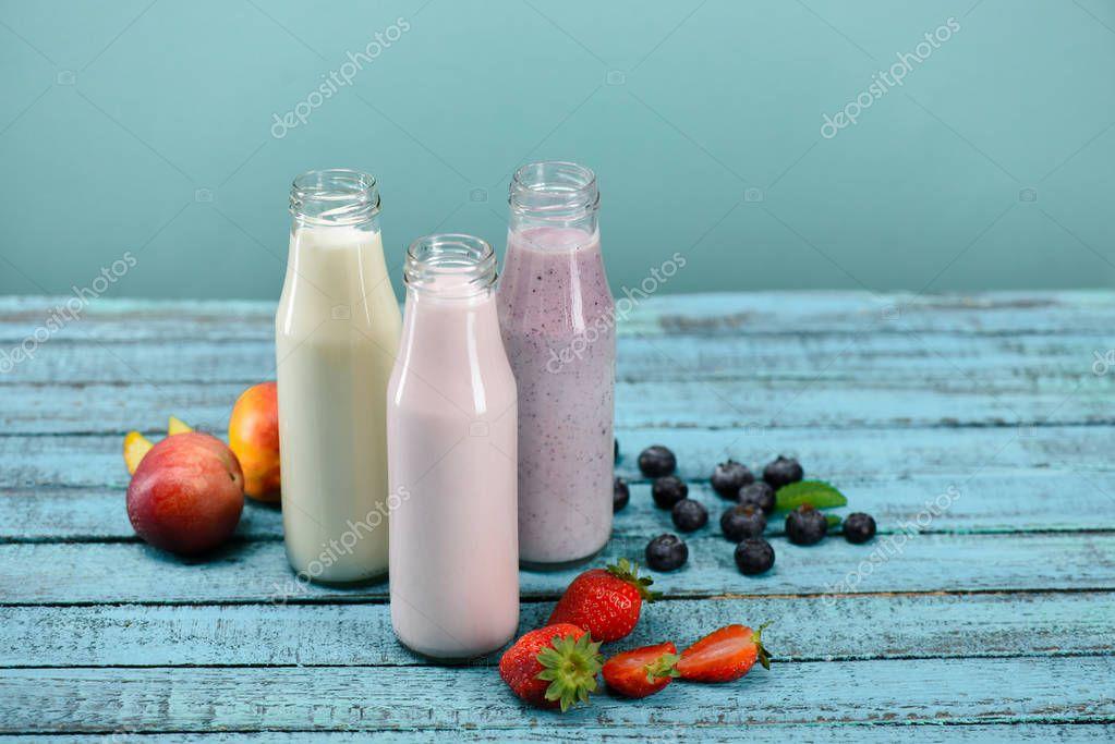 milkshakes in glass bottles