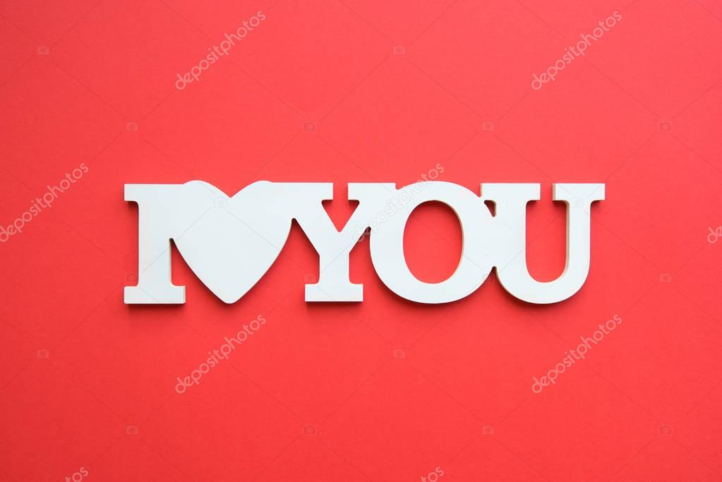 I love you white inscription isolated on red background stock vector