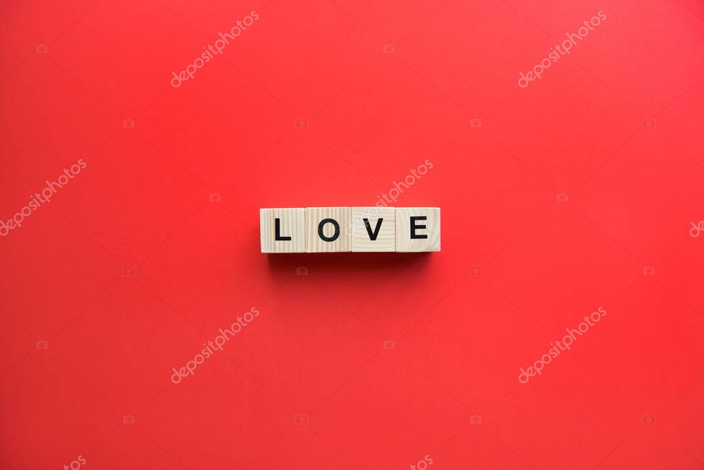 Wooden cubes with love sign