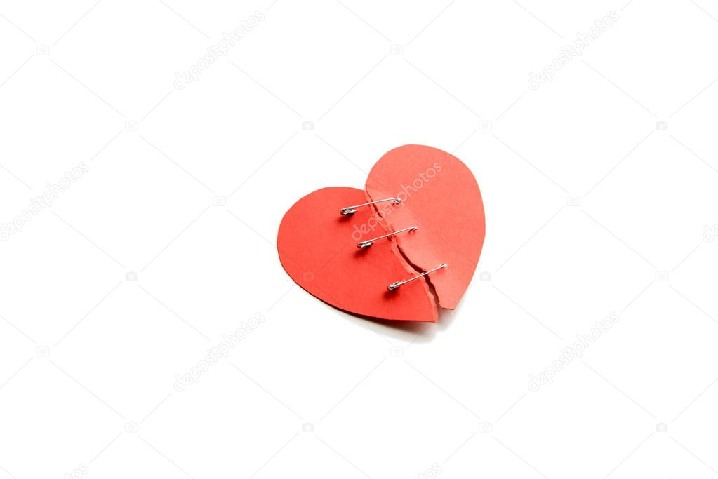 Red heart with broken parts