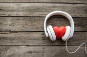 Fotografie Headphones with red heart sign
