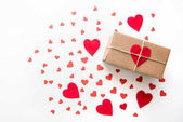 Photo gift box with red hearts