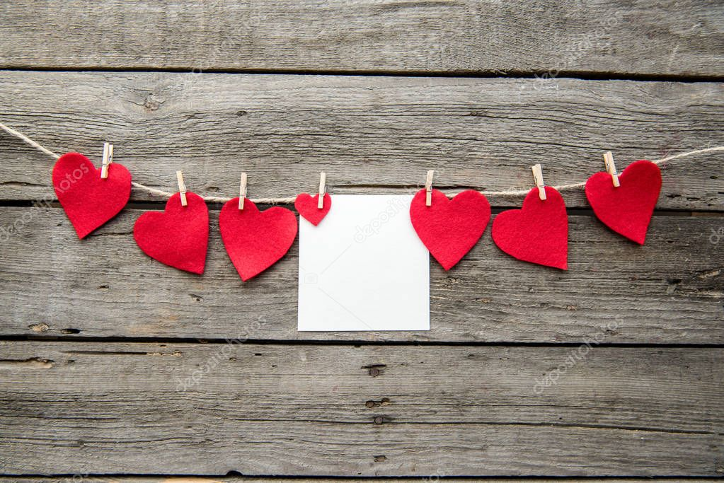 Red heart paper cut and greeting card