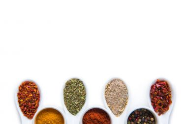 Various spices in spoons