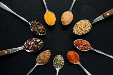 Top view of various spices and herbs in metal spoons isolated on black stock vector