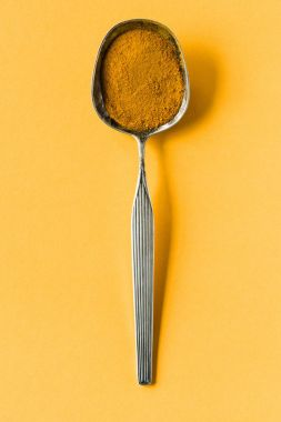 metal spoon with curry powder