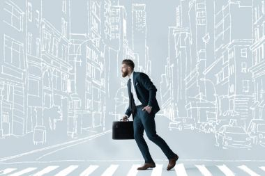 Side view of stylish bearded businessman running with briefcase on drawn crosswalk at drawn city stock vector