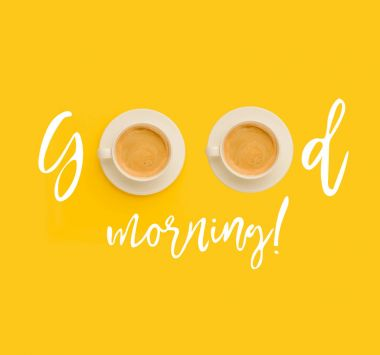 "Картина, постер, плакат, фотообои ""доброе утро с чашками кофе. "", артикул 158201274"