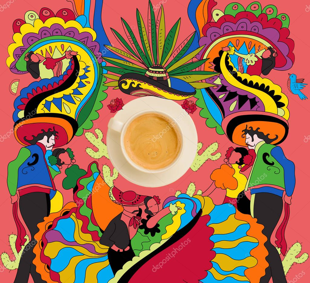 coffee with colorful mexican theme