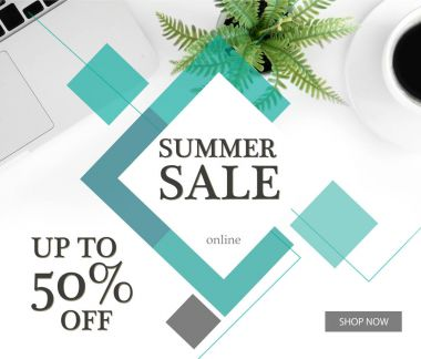 Summer sale banner template with discount 50 percent, laptop and cup of coffee stock vector