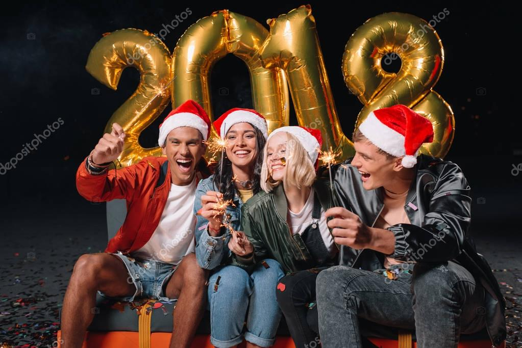 friends celebrating new year