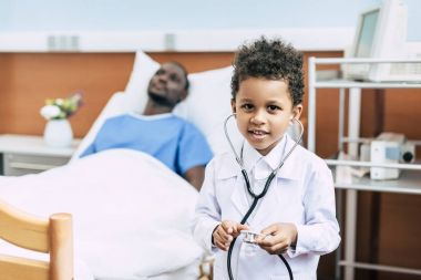 african american boy with stethoscope