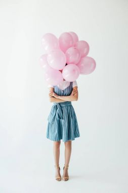woman and pink balloons