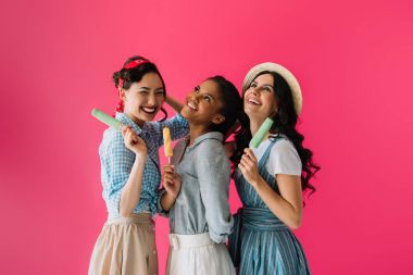 multicultural women with popsicles