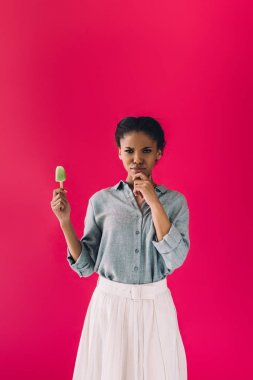 african american woman with popsicle