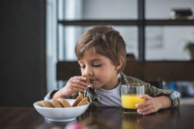 little boy during breakfast at home