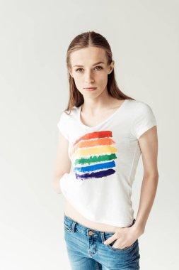 Woman showing printed rainbow
