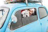 Fotografie man in car with dog and christmas gifts