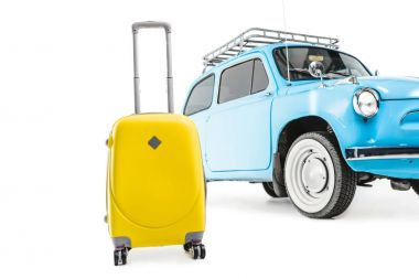 blue retro car with luggage