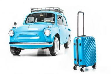 Blue retro car with luggage isolated on white stock vector