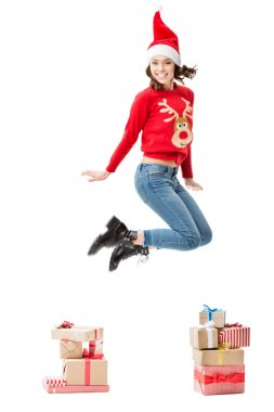 jumping woman in christmas sweater