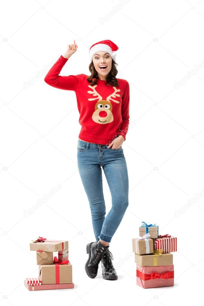 woman with idea on christmas