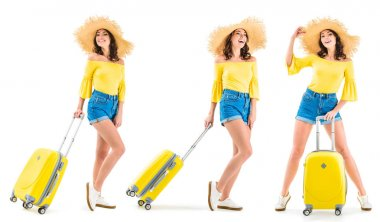 Beautiful young woman smiling and pulling luggage isolated on white stock vector