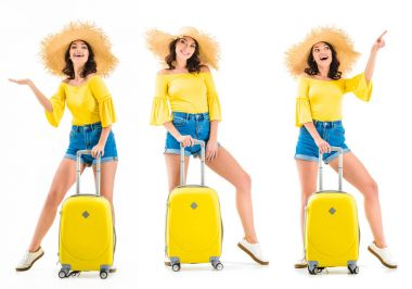 Young woman with luggage showing something with hand, posing and pointing up isolated on white stock vector