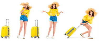 Young woman looking at luggage, shrugging shoulders and pulling luggage isolated on white stock vector