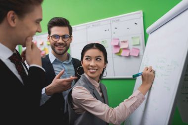 multiethnic businesspeople working with whiteboard and task board with sticky notes in office