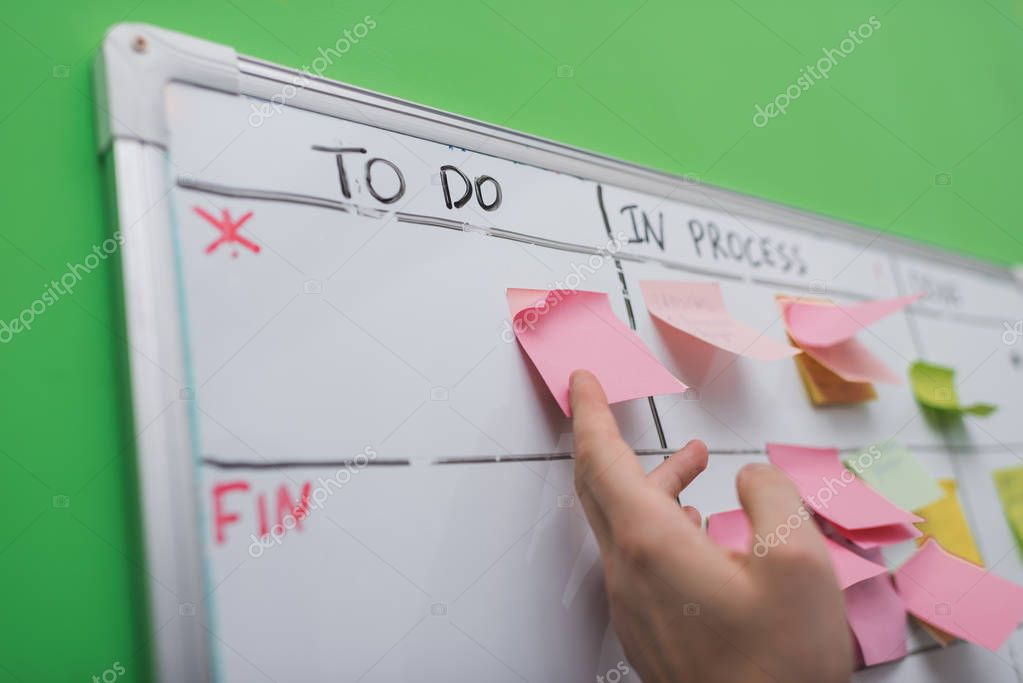 cropped view of businessman puting sticky note on task board