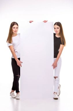 Young twins looking at camera while holding blank banner together stock vector