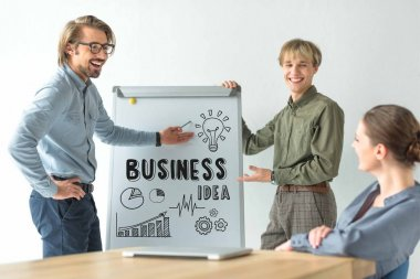 Laughing businessmen showing business idea inscription and icons on flipchat to businesswoman