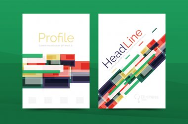 Set of modern geometric business annual report covers