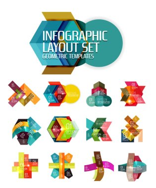 Creative paper geometric business infographic background templates