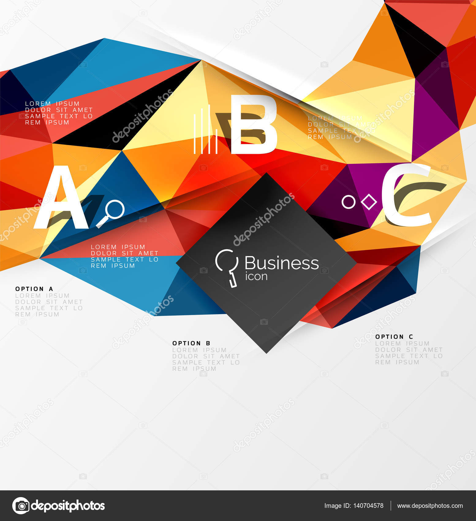 Colorful triangle mosaic 3d geometric object with infographics ...