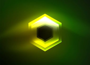Techno glowing glass hexagons vector background