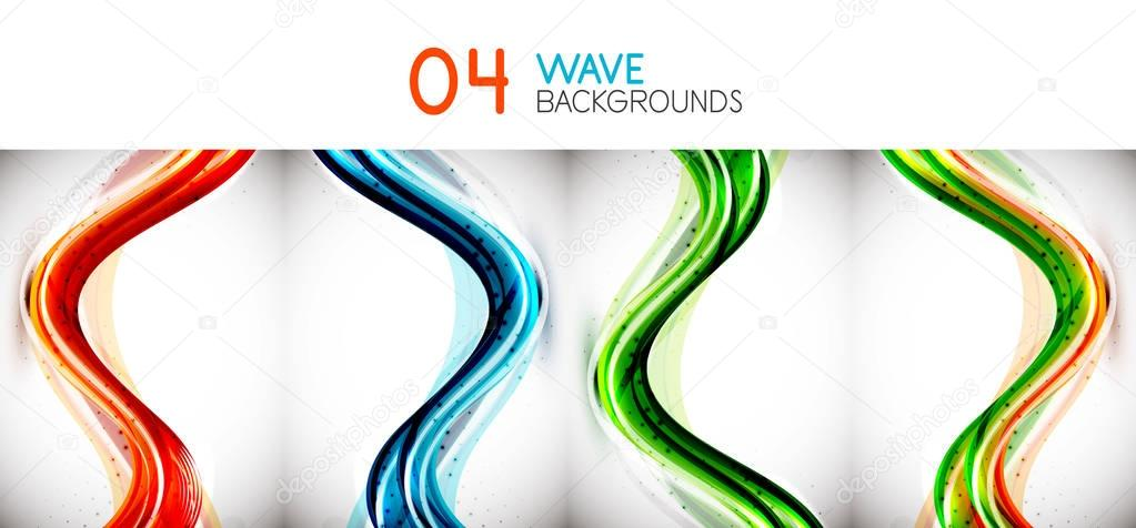 Set of colorful flowing motion abstract backgrounds