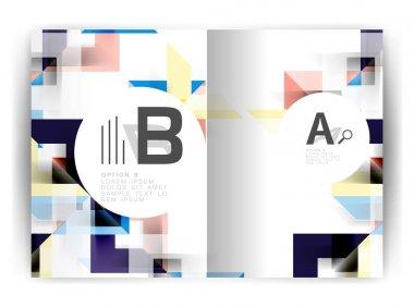 Geometric a4 annual report cover print template